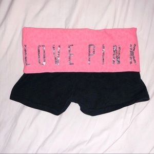 LOVE PINK silver sequin logo mini yoga shorts XS